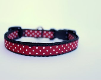 """A&M Polka Dot Puppy Collar. 1/2"""" wide, available in S (8-14"""")"""