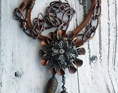 Steel Magnolia necklace- vintage copper flower. steampunk flower. vintage metal button. faun leather. mixed metal jewelry. Jettabugjewelry