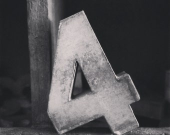 Square Black And White Print Of A Vintage Antique Metal Number 4