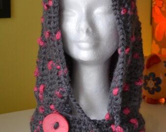 pink & grey crochet drawstring hoodie / neckwarmer / scoodie