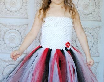 White, Red, and Black Tutu Dress