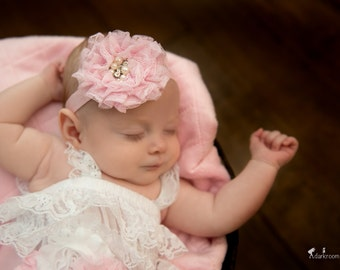 Pink Pearl and Rhinestone Lace Headband