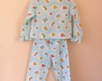 Turquoise pyjamas, for girl toddlers,  1 to 2 years old,  winter flannel night suit,  sleeping outfit