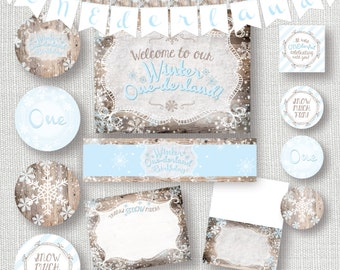 printable BLUE winter onederland entire party package - rustic blue  onederland party decor – 1st birthday DIY party decorations