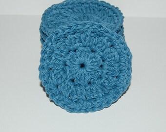 Set of 6 Blue Crochet Face Scrubbies/Facial Scrubbies/Cotton Pads/Cleansing Pads - 100% Cotton