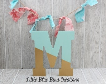 Painted wood letters - color block - paint dipped letters - wood decor - wooden letters -  monogram - teal and gold