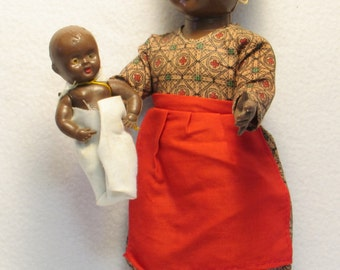 Rare Antique African Doll with Baby