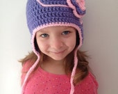 "SALE! Ready To Ship Crocheted Hat! Purple And Pink Flower Crochet Hat, Child Hat, ""I'm The Princess"" Hat, Winter Hat, Photo Prop"