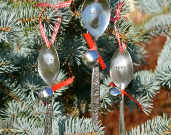 Set of 3 Hand Stamped Spoon Christmas Ornaments- LOVE, JOY, PEACE