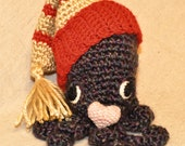 Miniature amigurumi plushie crochet doll - Sweet Savannah the Sleepy Octopus with removable nightcap and heart pillow