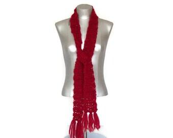 Clearance - Red - Scarf - Skinny - Fashion - Casual - Hand crochet- Textured - Homespun yarn - Gift