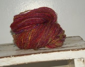 Hot Diggerydoo ooak Handspun wosted  thick and thin yarn wool silk mohair variegated single ply yarn