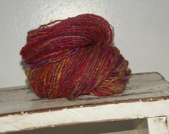 Hot Diggerydoo ooak Handspun wosted  thick and thin yarn wool silk mohair variegated single ply yarn