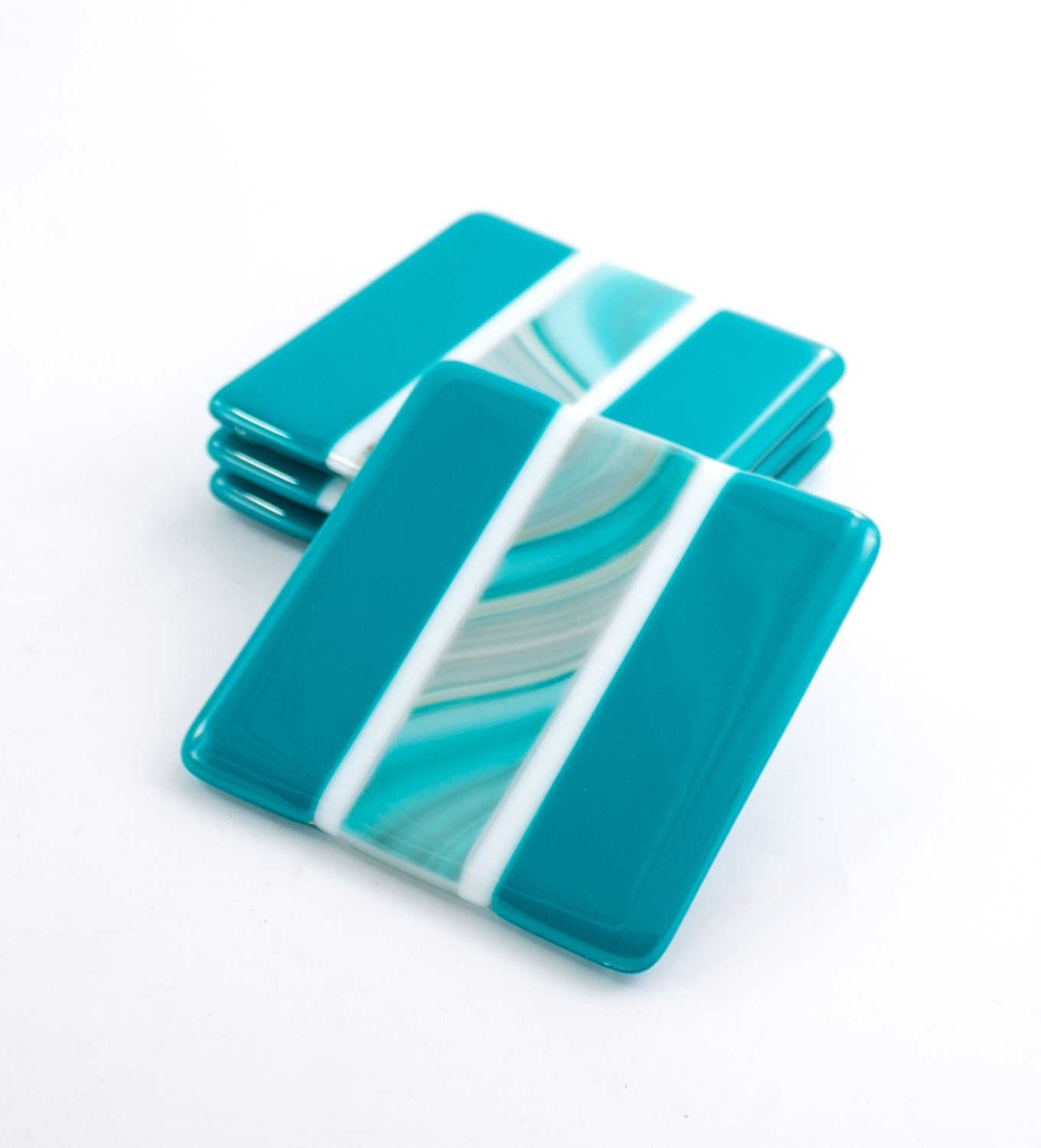 Fused Glass Drink Coasters Set Of 4 Teal Home Decor