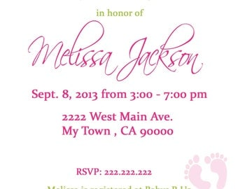 Clothes Line Baby Shower Invitation 5x7 or 4x6 Printable Invitation Pink Clothesline Baby Shower