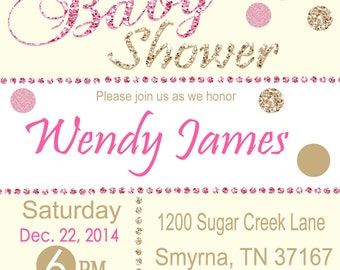 Baby Shower Invitation, Blush Pink Baby Shower Invitation, Glitter Baby Shower Invitation, Glam Baby Shower, Glitter and Pink Baby Shower