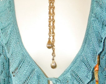 Monet Style Gold Lariat Necklace- Vintage 1960s