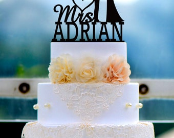 Wedding Cake Topper Monogram Mr and Mrs cake Topper Design Personalized with YOUR Last Name 047