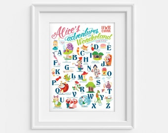 Alice in Wonderland alphabet poster (12,60 x 18,10) From A to Z.