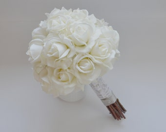 White Rose Bouquet - Real Touch Wedding Bouquet Rose Bouquet Garden Bouquet Cream Bouquet Bridal Bouquet White Bouquet High Quality Bouquet