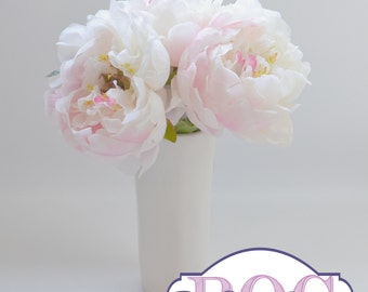 White Peony Bouquet - Small Bouquet, Small Peony Bouquet, Flower Arrangement