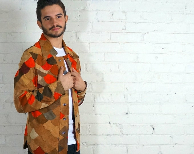 Patchwork Suede Jacket 1970s Vintage Hippie Jacket Mens SMALL Womens MED Retro Bohemian Outerwear Boho Earthy Clothing Brown Tan Red Purple