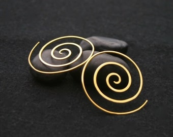 Gold Spiral Earrings - 22k gold plated - serenity spiral