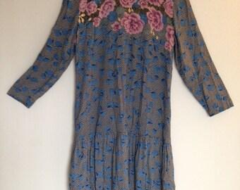 Vintage 90s Boho Dropwaist Dress Grunge Lolita Roses