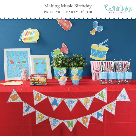 Making Music Party (Blue) Printable Party Supplies - Instant Download PDFs