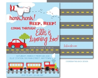 Transportation Party Printable Invitation | Transportation Birthday Invitation | Car Train Birthday | Plane Birthday Party | LuluCole