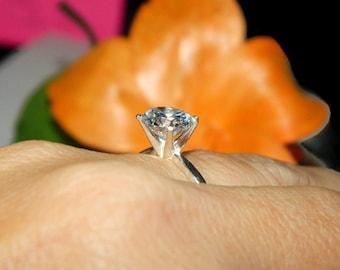 Engagement Ring, Solitaire Ring, 3.75 Carat Ring, Diamond Simulant Ring
