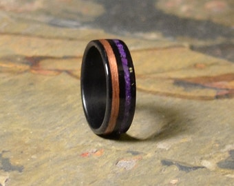 Ebony Bentwood Ring with Purple Agate and Cherry Inlay Wedding Ring- Anniversary Ring