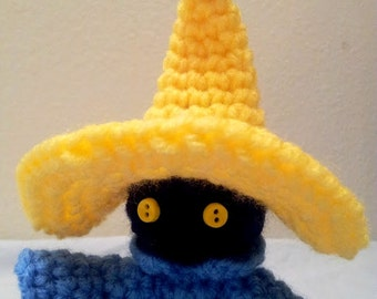 Crochet Black Mage Inspired Amigurumi Doll - Stuffed/Plush Collectable Toy