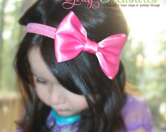 Hot Pink Bow Headband. Pink Baby Headband. Girl Headband. Baby Hair Clip. Birthday Girl Headband.