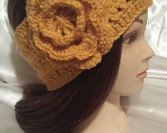 Teen/Adult - Wide Crochet Headband with Large Detachable Flower