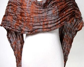 Rust and Gray Silk Scarf Shibori Crinkle Silk Scarf Arashi Scarf