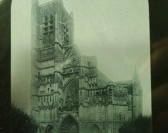 Antique/ estate Victorian 1800s. black n white magic lantern slide -  Auxerre Cathedral, Burgundy, France