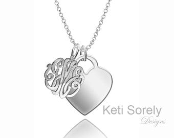 Personalized Mongrammed Initials Charm with Heart (Order Any Initials) - Sterling Silver