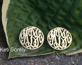 Monogrammed Initials Post Earrings Small to Large Sizes (Order Any Initials)- Sterling Silver with Gold Overlay