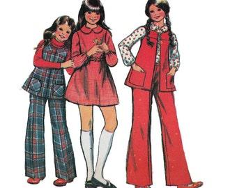 "McCall's 3721 Girls' Jumper, Vest, Dress, Blouse, Pants Sewing Pattern Sizes 4 Chest 23"" /58cm Vintage 1970s"