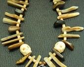 Voodoo Priest/Priestess, Witch Doctor Bone Necklace - Tigereye, Golden Lip Shell, Agate Claw, Talon, Bone Skull, Fang