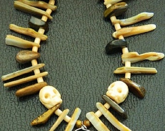 Voodoo Priest/Priestess, Witch Doctor Bone Necklace - Tigereye, Golden Lip Shell, Agate Claw, Talon, Bone Skull, Fang