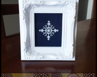 Snowflake #1 Cross Stitch PDF Pattern - Immediate Download from Etsy - Christmas Winter Card Series