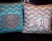 Personalized Baby Keepsake Pillow - Elephant Design - Your color choice