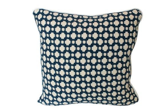 Indigo Blue Schumacher Betwixt Pillow Cover with Ivory Piping