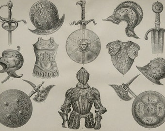 1890 Antique print of ANCIENT ARMOURS. Shields. Helmets. Weapons. Cuirass. Swords. Middle Ages. 127 years old engraving