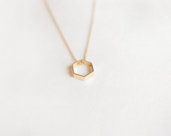 Mini Hex Necklace (14k Gold Filled Chain + Raw Brass Hexagon)