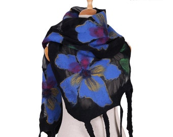 SALE!!!  felted scarf wrap black and blue flowers silk and wool nunofelted artistic shawl, felted shawl, eco wool scarf  elegant, gift