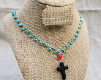 Long turquoise, pearl and onyx cross necklace on 14kt gold filled chain