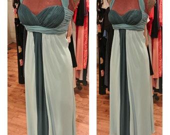 1990s Blue Green Chiffon Gown Long Empire Waist Open Back Party Dress Wedding Guest Dress Vintage Evening Dress